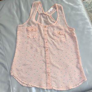 Pink sheer blouse
